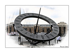The Timepiece (paulinecurrey) Tags: smileonsaturday takethetime time sundial design london outside blur camera digital metal modernhistory large big chains circle sculpture timepiece wendytaylor reflection dots riverthames dial shadow
