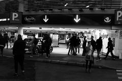 Day 116 - Agitation (cframezelle) Tags: paris daytoday fix nocturnal nuit sortiephoto street nocturne night bw blackandwhite noiretblanc nb shadows ombres parking city urban people pentax 35mm 365