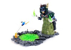 Finn vs The Lich (Tim Lydy) Tags: lego adventure time finn jake lich snail brickworld chicago 2017 cartoon network
