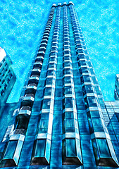 The San Francisco Blue (Steve Taylor (Photography)) Tags: art architecture digital building blue monochrome monocolor monocolour lines perspective texture sky skyscraper hotel usa sanfrancisco