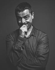 [not so serious] Portrait (Wojtek Piatek) Tags: portrait male man model family studio matte blackandwhite mono sony alpha a99 smile wojtek photography mid age one light softbox flash ofc offcameraflash sigma art 50mm