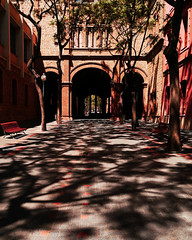 Industrial school (chrisk8800) Tags: architecture building professionalschool passway shadows trees entrances arches windows curves lines geometry texture structure barcelona