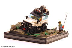 Land Rover Defender (Pixel Fox) Tags: lego 4x4 offroad land rover defender diorama