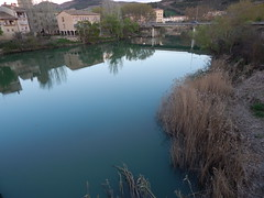 Calm (amgirl) Tags: spain navarra april 2017 spring puentelareina calm evening hills river blue rioarga day2 cizurmenortopuentelareina march31 village grasses path reflection water caminodesantiago caminofrances