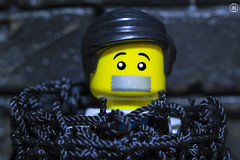 Kidnapped (jezbags) Tags: lego legos toy toys minifigures minifigure macro macrophotography macrodreams macrolego canon60d canon 60d 100mm closeup upclose duct tape tied bricks scared trapped