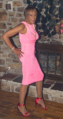 Profile In Pink! (kaceycd) Tags: crossdress tg tgirl lycra spandex minidress pantyhose sandals peeptoesandals opentoesandals highheels stilettosandals stilettoheels sexysandals stilettos s