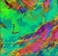 Dust Over the Sea of Japan and Hokkaido/Tohoku CMYK (sjrankin) Tags: 7may2017 edited weather climate dust hokkaido japan jaxa korea koreanpeninsula pacificocean seaofjapan china russia cmyk himawari8