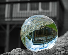 Week 19:  Composed (blamstur) Tags: ball crystalball upsidedown selectivecoloring round house reflection