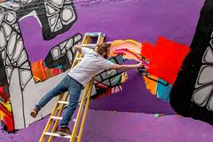 Urban Stories - Work In Progress (darren.cowley) Tags: streetphotography urban art artist spraycan colourful vivid balance nottingham city creative paint ladder scene purple orange red