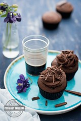 Devil's food cupcakes with chocolate (vanilllaph) Tags: blue brown cake chocolate coffee colorful cook cookbook cupcake delicious dessert flower food homemade menu muffin ornate receipe sprinkle violet