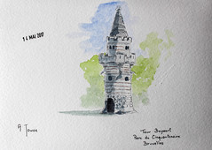 May daily challenge 14 - A Tower (chando*) Tags: aquarelle watercolor croquis sketch tourbeyaert parcducinquantenaire