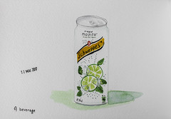 May daily challenge 10 - A beverage (chando*) Tags: aquarelle watercolor croquis sketch schweppes virginmojito can canette