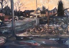 Dewsbury Road Wakefield (Captain Wakefield) Tags: painting impressionist art oil wakefield cityscape uk yorkshire expressionist light buildings evening road samuel burton artist cars