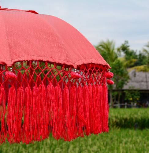 Balinese red umbrella