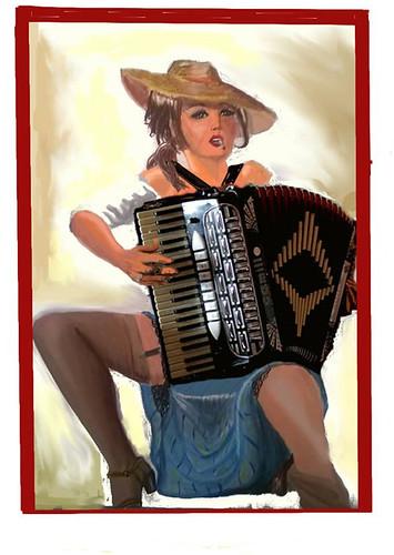 La Fisarmonicista 👒 🎹 #illustrazione #popolare #folk #dipinto  #libri #fumetti #elettritv #gogolbordello 🎻 #dalvivo #point #sottosuolo #musica #quadro #underground #music #tibervalley #roma #italy #rome 🎨 di @erikaro