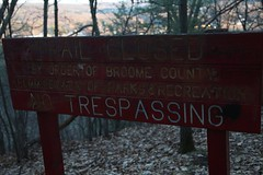 (The Union Argus) Tags: 35mm film trespass trespassing illegal text no dark broome county trail closed