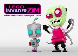 1- LEGO Ideas Invader Zim & Gir brick built figures