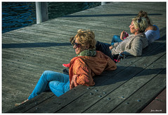 Winter Sun Worshippers. (TOXTETH L8) Tags: winter sun sunburn darlingharbour nsw sydney ladies