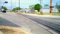 Railroad Crossing! (Maenette1) Tags: railroadtracks crossing signals 13thstreet truck buildings trees neighborhood menominee uppermichigan flickr365