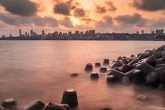 Sunset at Marine Drive (kaustubh.nerurkar) Tags: ngc india maharashtra longexposure nikon mumbai sunset ocean water city urban