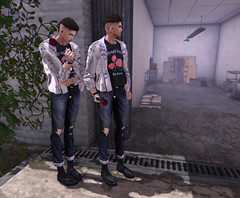 Forever.. (Levi Megadon // *OMG*) Tags: sl secondlife men mens male look lotd outfit clothing clothes fashion style blogger blog event themensdept tmd exclusive hair dura ink bracelet gatcha item bttb boystothebone rose jacket tee shirt seul ripped vintage denim classic jeans deadwool penny loafers shoes