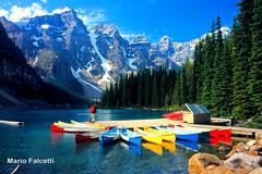 Canada: Banff National Park: Lake Moraine (mariofalcetti) Tags: canada banffnationalpark lakemoraine lake lago water acqua landscape paesaggio montagna mountain boat barca alberi tree