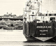 Tanker and Tug--Mystic River (PAJ880) Tags: tanker angelica an mystic river boston harbor everett ma mono bw black white tug exmoran disused