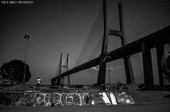 Skatepark do Parque das Nações (Paullus23) Tags: skate skatepark lisbon lisboa parquedasnacoes bridge ponte pontevascodagama bridgevascodagama bnw blackandwhite pretoebranco graffiti grafite grafitti