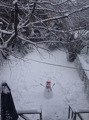snowman below (Mr.  Mark) Tags: snowman snow winter lonely alone backyard childhood red hat stark stock photo markboucher