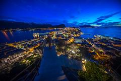 Enjoying the view! Ålesund, Norway (Paulius Bruzdeilynas) Tags: ålesund alesund norway norge norwegian trip travel aklsa aklsaviewpoint sunset eveing spring dark lights citylights weather selfie stairs sony sonyalpha sonya7ii