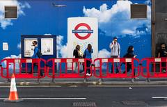 Ducks in Flight (stevedexteruk) Tags: tottenhamcourtroad oxfordstreet hoarding cone construction crossrail london uk 2017 people