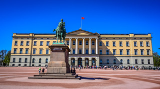 Slottsplassen and Kongelige Slott with King Karl Johan Equestrian Statue - Oslo Norway