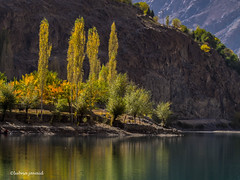 Khalti Lake @ Ghizar, Gilgit Baltistan - Pakistan (LubnaJavaid) Tags: khalti lake gilgit baltistan ghizar hunza autumn yellow blue mountain green orange color pakistan north