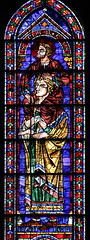 St Mark on Daniel's Shoulders (Lawrence OP) Tags: evangelist saints stmark apostle chartres cathedral stainedglass window prophet daniel
