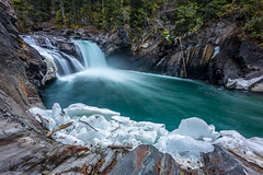 Overlander Falls (robertdownie) Tags: trees canada winter spring cold river blue rock rocks waterfall falls long exposure canyon rockies overlander popular tags mt robson provincial park