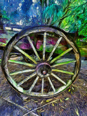 The Colour Wheel (Steve Taylor (Photography)) Tags: colourwheel cart wheel art digital colourful wooden wood newzealand nz southisland canterbury trees leaves texture crossed colour