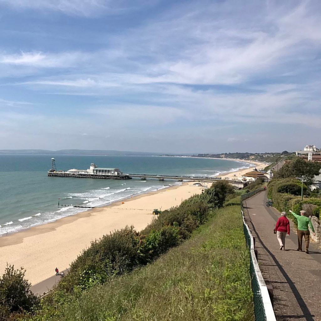The view from the office today #bournemouth #bournemouthbeach #dorset #beach #pier #sea🌊 #waves #coast #sand