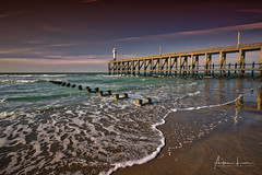 Blankenberge Lighthouse At Sunset (Alec Lux) Tags: hdr hdrphotography beach belgium blankenberge breakwater clouds groyne landscape landscapephotography nature naturephotography ocean pier pontoon scenic sea seascape seascapephotography sky water waves