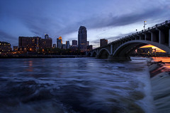Minneapolis on the Mississippi (Sam Wagner Photography) Tags: blending stacked day night twilight long exposure mississippi river clean power water generated energy minneapolis skyline stanthony falls sunset colorful vibrant 3rd avenue bridge skyscrapers blue magic hour cityscape minnesota twin cities midwest