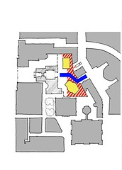 Hatched area is backstage and service access from Elder St; yellow is auditoria; blue is pedestrian access from St James Square.