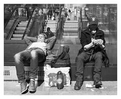A Sunny Day in Glasgow (Callum Dickson Photography) Tags: glasgow buchanan sun sunbath guitar man men cigarette rolling subway scotland black white blackandwhite nikon urban streetphotography people nikkor