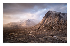 First Light on the Buachaille (Dylan Nardini) Tags: spring etive winter highlands frost coe flurry weather clouds morning west scotland glen sunrise glencoe snow rocks sky mountains light hills cold april