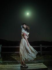 moonlight (shingo7099) Tags: girl woman beautiful beauty moon night moonlight lady wind dress park mountain star japan hokkaido 645z pentax strobo portrait