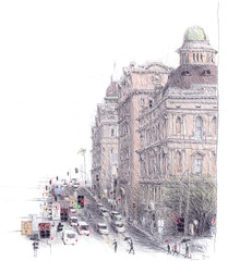 Bridge St - Sydney (Peter Rush - drawings) Tags: sydney australia nsw peterrush pencil urbansketcherssydney urbansketchers sketch drawing o aus