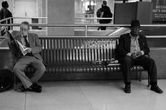 Some kind of racial divide? (Something Sighted) Tags: philadelphia philadelphie pennsylvania streetphotography scènederue metro septa blackandwhite noiretblanc fujifilmxt1 suburbanstation