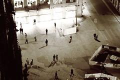 St.Stephen's Square (No_Mosquito) Tags: vienna austria city centre urban night lights ststephens square monotone sepia canon powershot g7x mark ii stephansplatz stephansdom pummerin people construction souvenirs