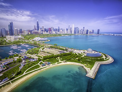 Adler (patkelley3) Tags: chicago city drone lake michigan aerial water blue summer green planetarium sears tower boats dock