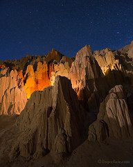 "Cathedral Gorge, Nevada (IronRodArt - Royce Bair (""Star Shooter"")) Tags: erosion stars starrynightsky moonlight cathedralgorge nevada cathedralgorgestatepark lightpainting"