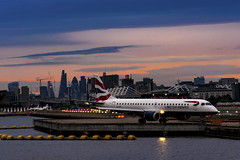 Fly Away (JH Images.co.uk) Tags: london lcy city airport sunset clouds britishairways ba aircraft airplane jumbo jet skyline docklands hdr dri clcyy lcyt