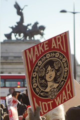 Art not war (marktmcn) Tags: make art not war womens march london january 2017 protest placard sign message wellington arch hyde park corner dsc rx100 peace angel quadriga horses statue constitution